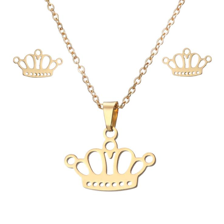 Fashion Jewelry Set Crown Skull butterfly Fatima hand Jewelry set Women Gold-Color Jewelry for women Stainless Steel Necklace Stud Earrings