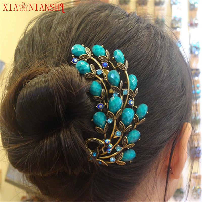 Vintage Resin&Crystal Rhinestone Peacock Hair Combs Antique Bronze Hair Clips Hairpins Headdress Exquisite Hair Jewelry Women S926