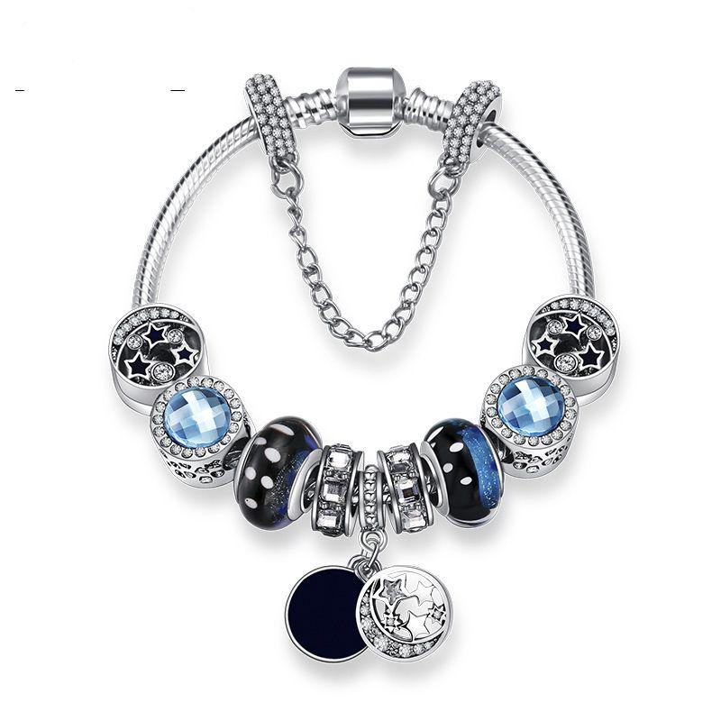 Neue Charme Armbänder Blue Sky Perlen Armband 925 Silber Armbänder retro nationalen wind Sterne Glasur Perlen Mond Diy Schmuck