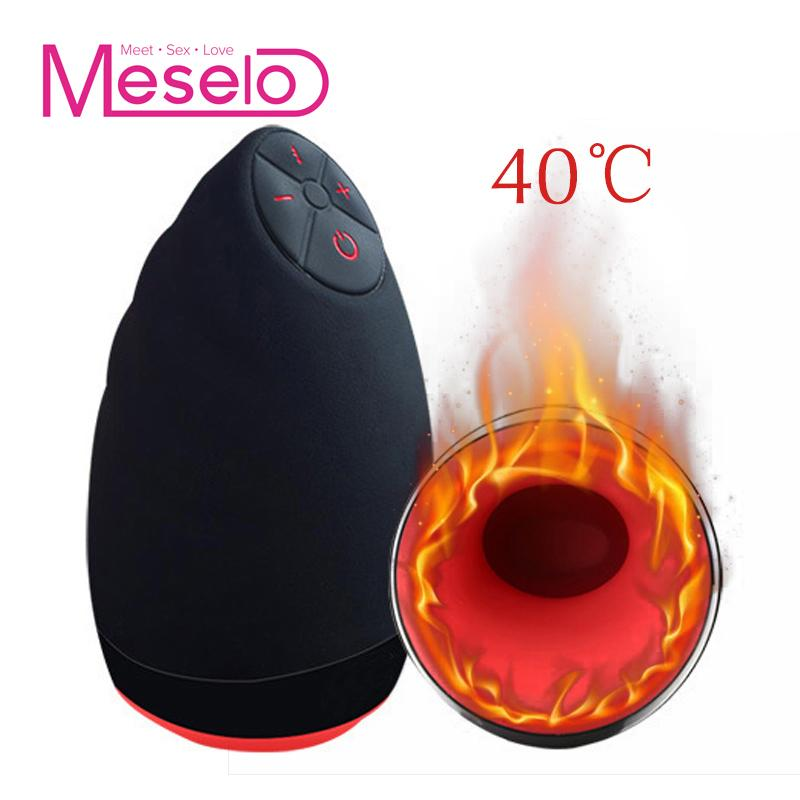 Meselo 6 Modes Lick Suck Automatic Intelligent Heat Sex Machine Oral Masturbation Cup Vibrating Realistic Vagina Sex Toy For Men Y18100902