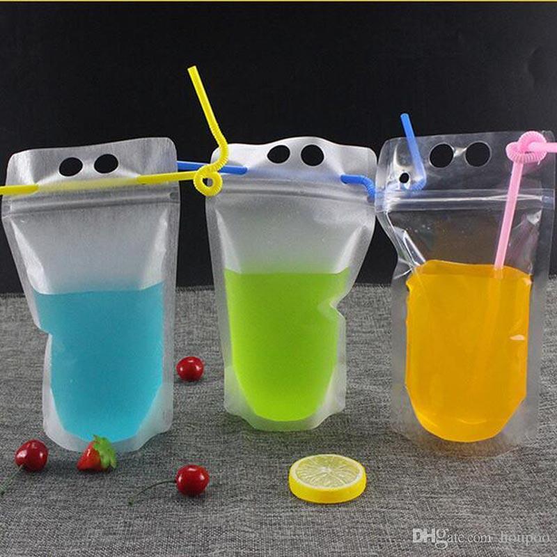 Wholesales 450ml Self Sealed Plastic Beverage Bag With Straw