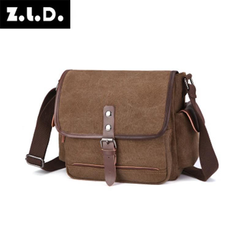 Mens Fashion Canvas Solid Color Casual Business Shoulder Bag Messenger Bags