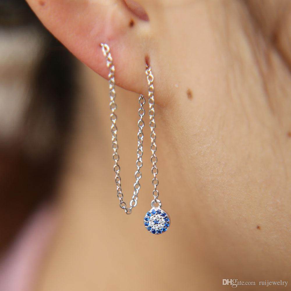 gorgeous round 925 silver charm chain ear wire silver color fashion elegant for women turkish evil eye turquoises dangle earring