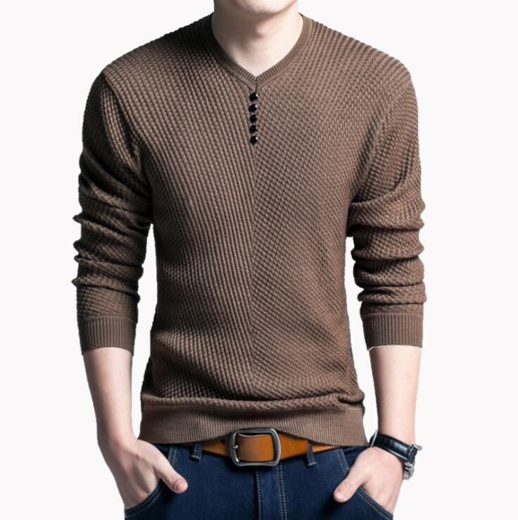 Свитер мужчины повседневная V-образным вырезом пуловер мужской осень Slim Fit с длинным рукавом мужская трикотажные кашемировые свитера
