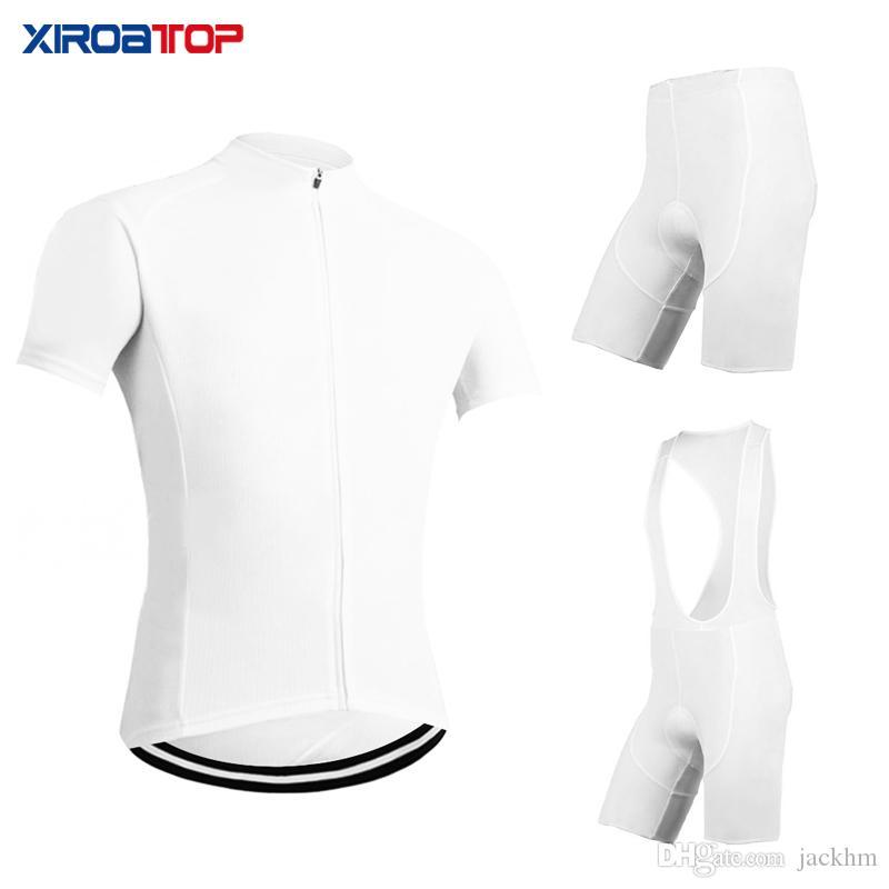 XIROATOP Yeni sıcak satış 2018 Bütün Beyaz Bisiklet Jersey Önlüğü Şort Set Dağ Bisikleti Giyim MTB Bisiklet Giyim Maillot Ropa Ciclismo