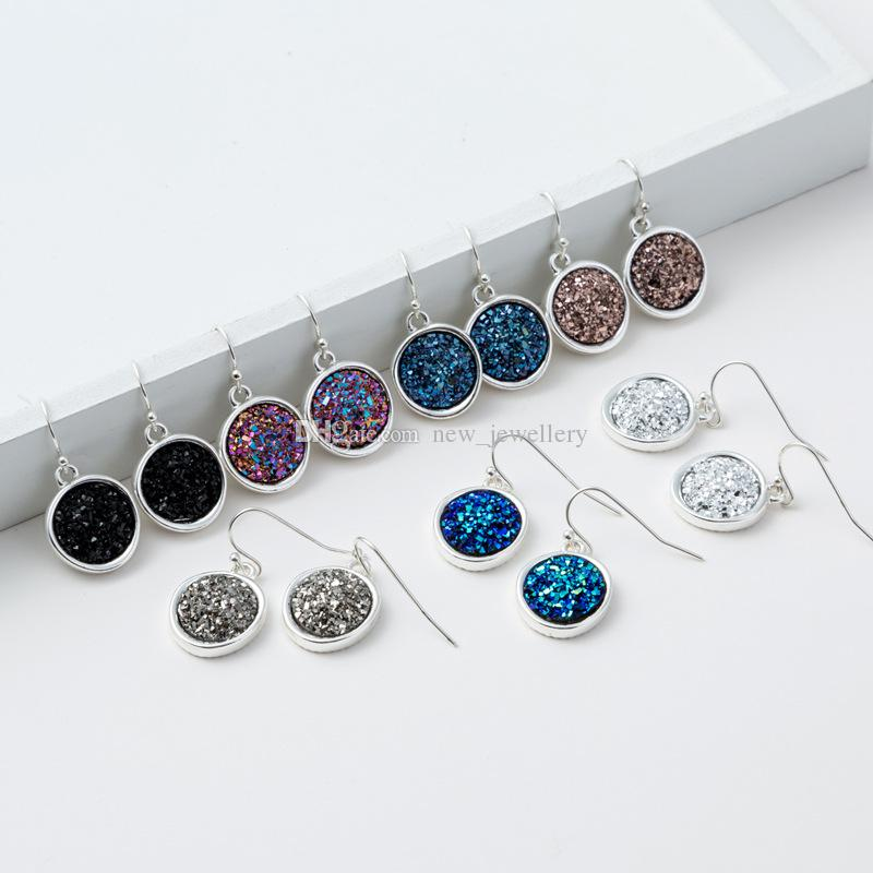 Moda 6 cores druzy drusy brincos de prata banhado a geometria do falso pedra dangle brincos para as mulheres jóias