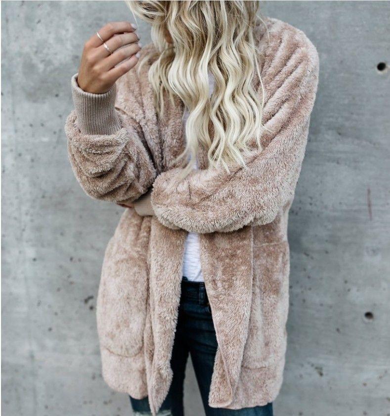 إمرأة Faux فرو جاكيتات ملابس الشتاء مقنع المخملية معاطف تصميم جيب فضفاض معاطف النساء الملابس الدافئة القمم خارجية لينة
