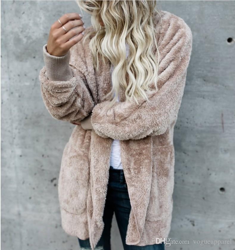 Frauen-Pelz-Jacken-Oberbekleidung Winter-mit Kapuze Samt Mäntel Taschen-Entwurf-loser Mäntel Damen Kleidung warme weiche Oberbekleidung Tops