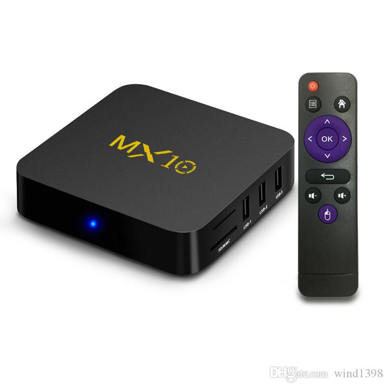 Hot selling android 9.0 TV BOX MX10 RK3318 Quad-core 4GB/32GB 2.4G WIFI HDMI&USB3.0 H.265 smart media player kdx omk