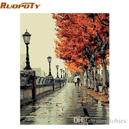 RUOPOTY кадр осень уличный пейзаж DIY живопись by Numebrs Kit ручная роспись маслом уникальный подарок для гостиной 40X50CM