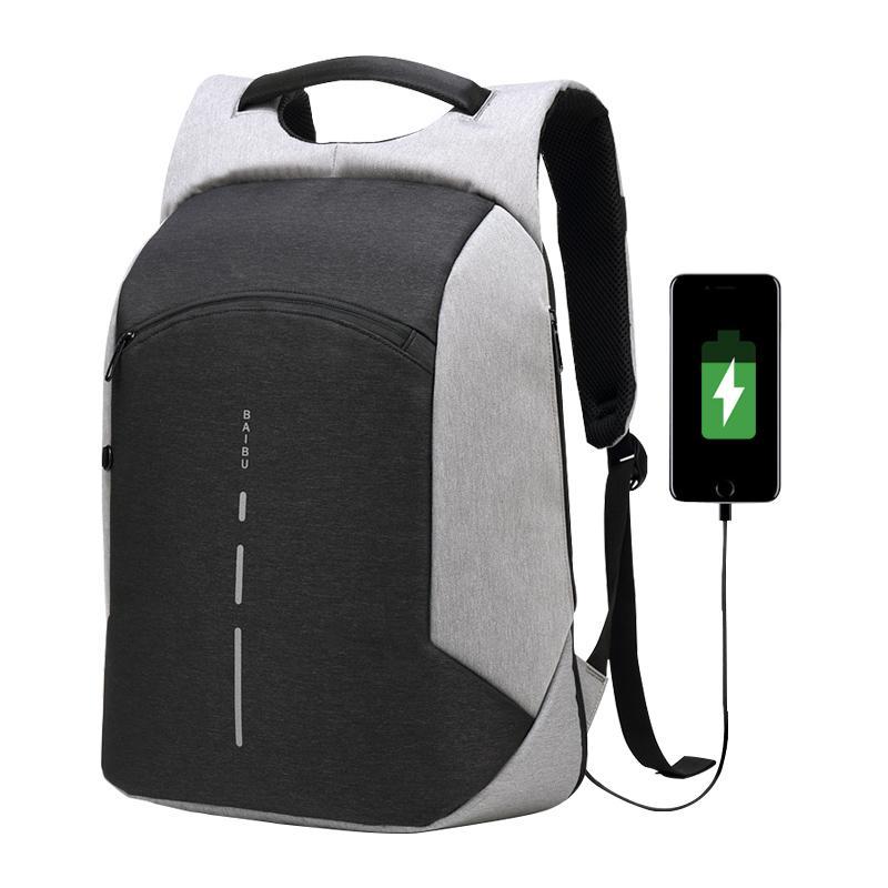 15.6 노트북 가방 USB 충전 도난 방지 배낭 남자 여행 배낭 방수 학교 가방 남성 Mochila