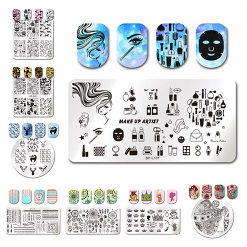 BORN PRETTY Stamping Plate Christmas Cute Deer Crown Queen Feather Stripe Girl Nail Art Image Plate Manicure Stamp Template