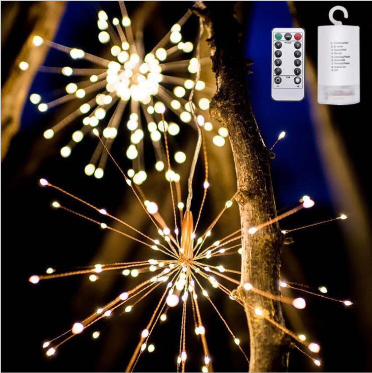 교수형 스타 버스트 스트링 라이트 200 LED DIY 불꽃 구리 동화 같은 갈 랜드 크리스마스 조명 야외 반짝 조명 조명 장식