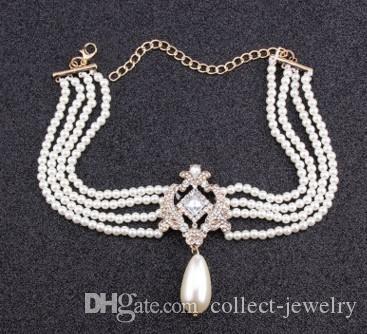 collar de mujeres de la cadena de pétalos de cristal noble noble peMulti-piso arl (15)