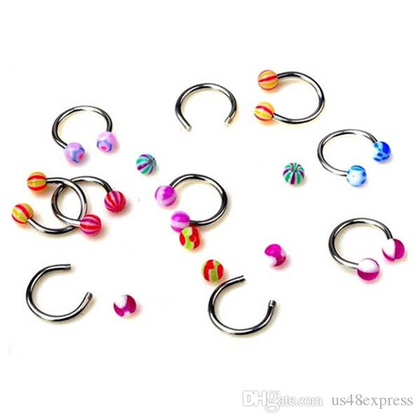 Random Color Acrylic Candy Color Double Ball Belly Button Ring for Women Pircing Surgical Steel Navel Piercing Body Jewelry