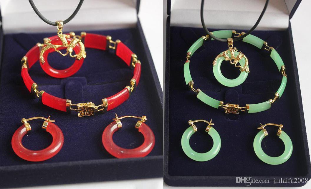 Collana Luce verde naturale rosso giada 18KGP drago del braccialetto degli orecchini set
