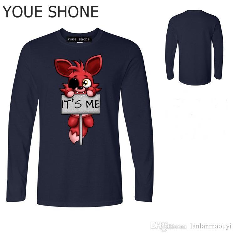 Sono io Kawaii FNAF Peluche Foxy Uomo Maglietta Hip Hop T-Shirt Cotone O-Collo maglietta Uomo Bambini bambini Marca manica lunga tee pullove