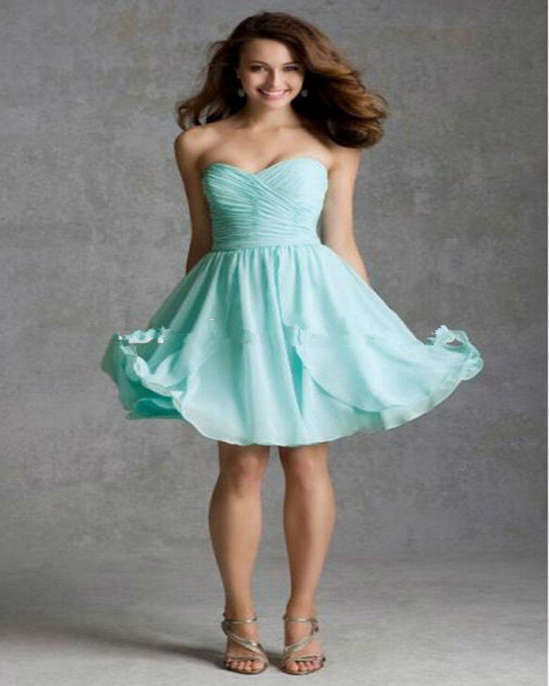 Compre Vestidos De Dama De Honor De Color Verde Menta Sin Tirantes Vestido Corto De Fiesta Vestidos De Dama De Honor Baratos A 985 Del