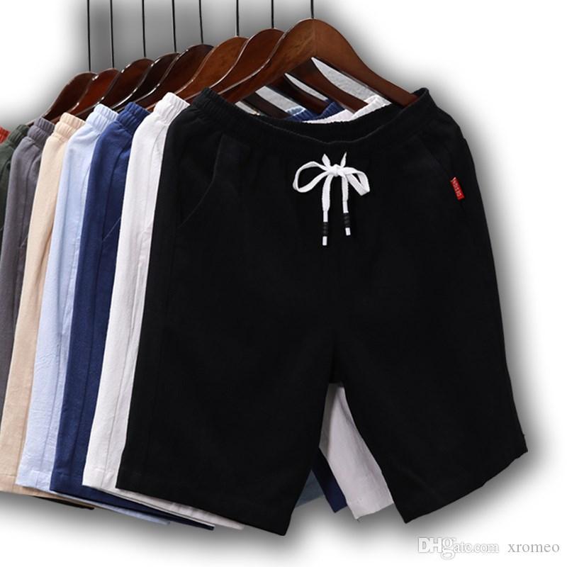 Pantaloni corti in lino da uomo Casual Street Style Pantaloni sportivi in cotone elastico in vita Solic Pantaloni lunghi in cotone da spiaggia Vacanze LT