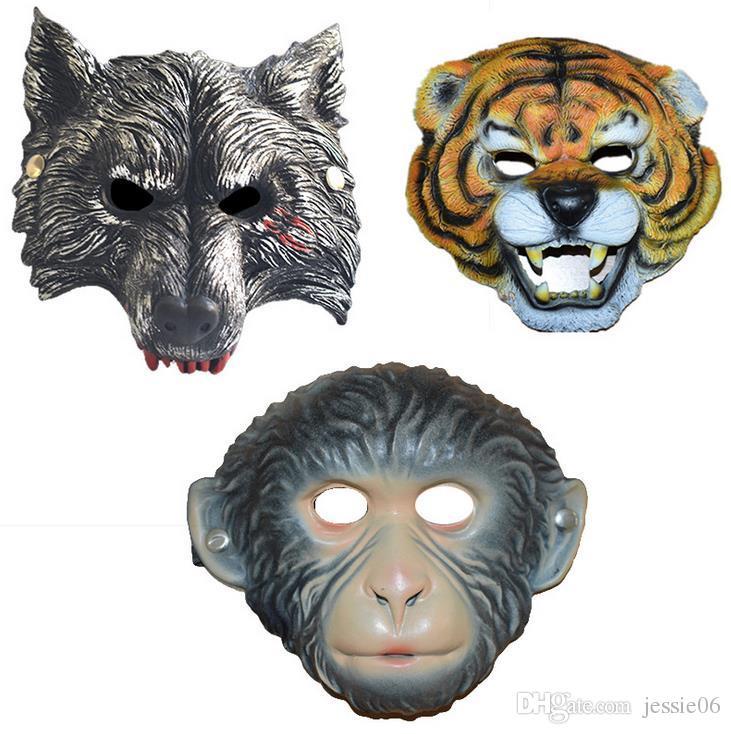 Party Mask EVA Cartoon Animal Tiger Wolf Monkey Masks Xmas Halloween Fun Adults Children's Fancy Dress Accessory Full Face Mask