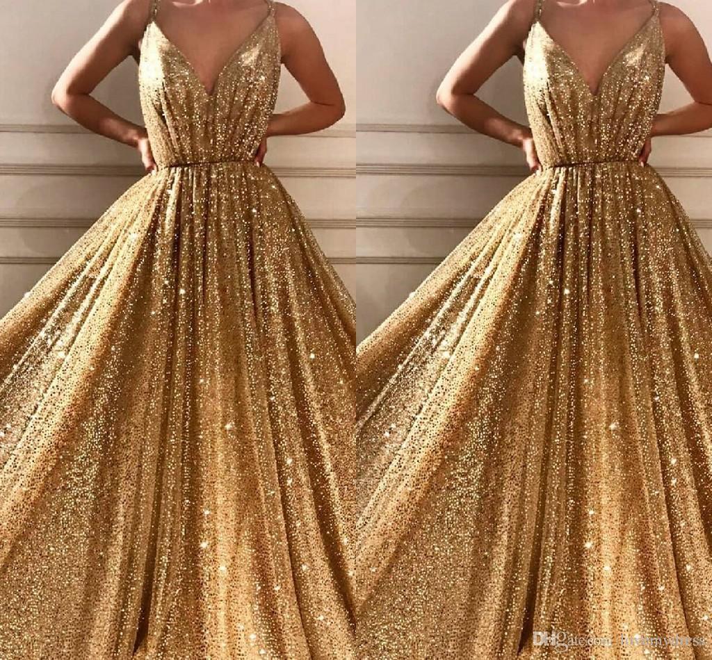 Großhandel Goldene Pailletten Formale Abendkleider Elegante 19 Spaghetti  V Ausschnitt Backless Mantel Abendkleid Formale Kleider Runway Fashion