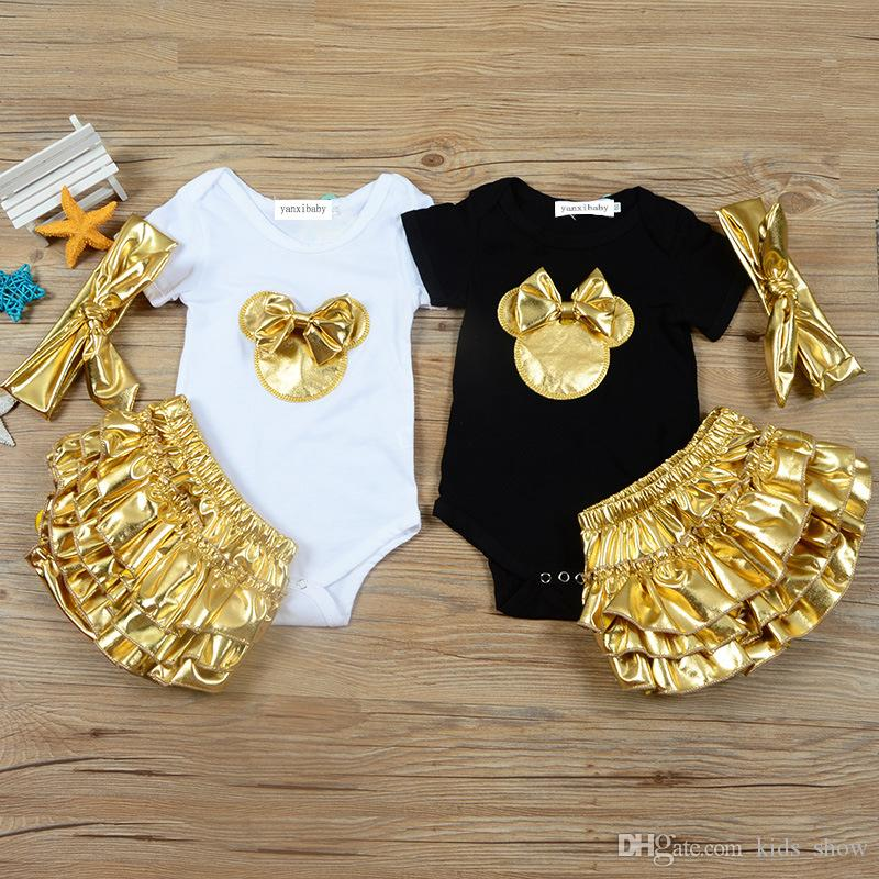 Summer Baby Girl Vêtements Set Romper Top + Pantalon à volants en or + Bow Headband 3pcs / set tenue de bébé or bow