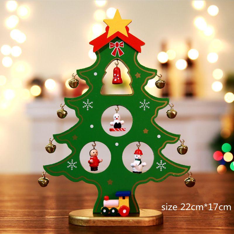 Legno albero di Natale desktop fai da te mini albero di natale artificiale ornamenti scena vetrina decorazioni natalizie per la casa