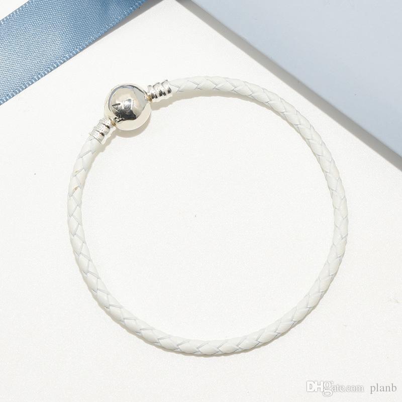 Moda de lujo clásico de cuero blanco cuerda mano pulseras de cadena caja de regalo original para Pandora 925 plata encantos pulsera para mujeres hombres