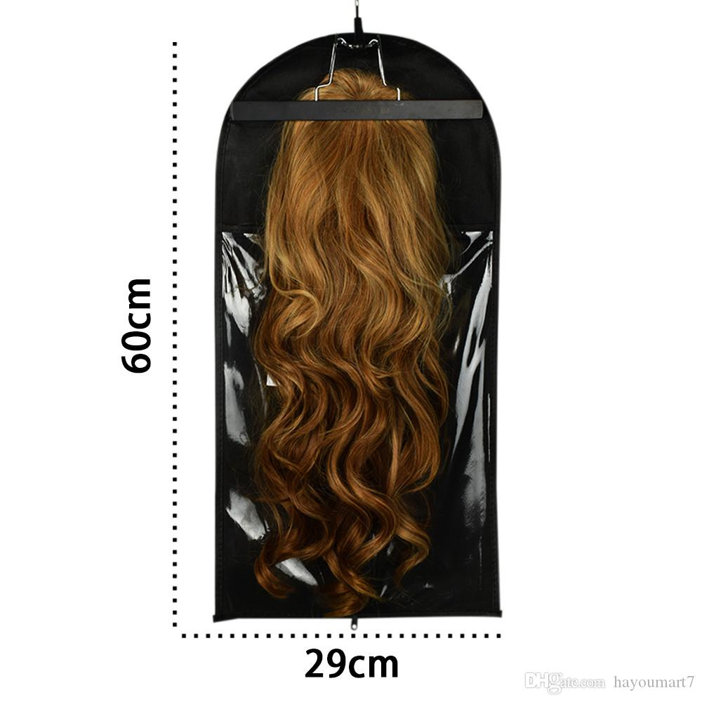 Black Hair Extension Packing Bag Include Hanger And Hanger Carrier Storage Wig Stands Hair Extensions Bag For Carring And Packing Hair