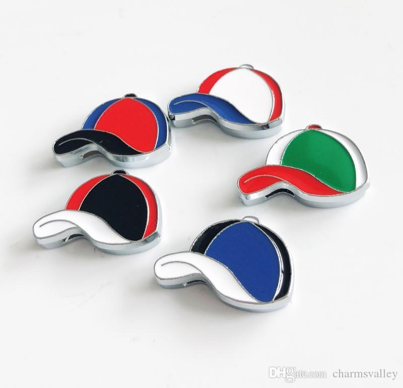 10PCs 8mm Esmalte Gorras de béisbol Encantos de diapositivas Fit 8mm Pet Collar de perro Nombre Cinturones Correas Pulseras Etiquetas