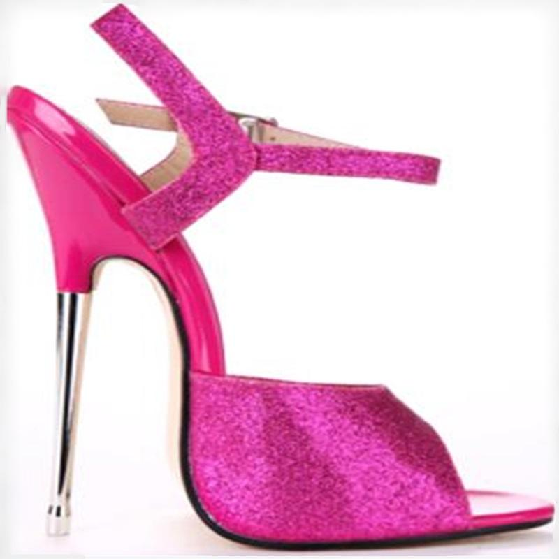 Plus size 43 summer shoes woman metal heel stiletto heel sexy pointed toe sandals 2018 newest red sequins t stage shoes