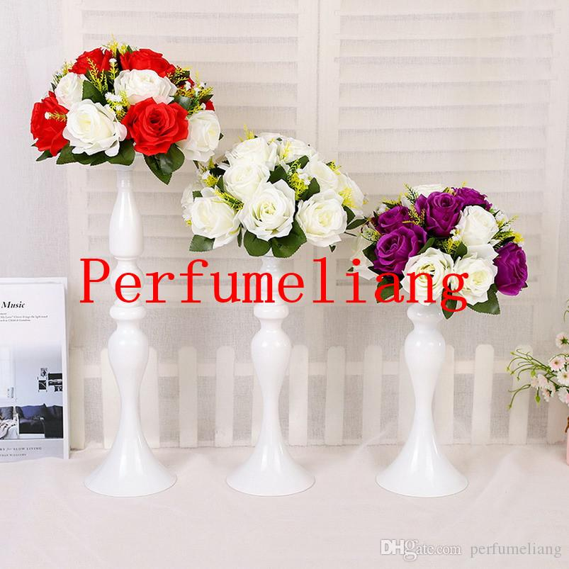 """Silver Gold White Candle Holders 50CM/20"""" Flower Vase Candlestick Wedding Decoration Table Centerpiece Flower Rack Road Lead"""