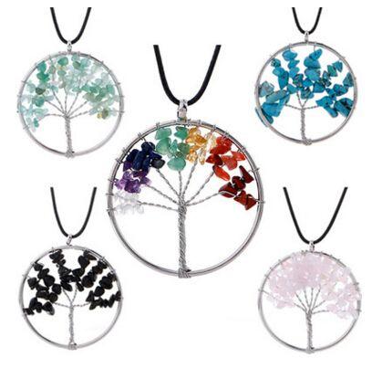 Multicolor Chakra Árbol de piedra natural de la vida Collares colgantes Mujeres Chakra Collar Joyería de moda Collar de piedra natural 12 colores