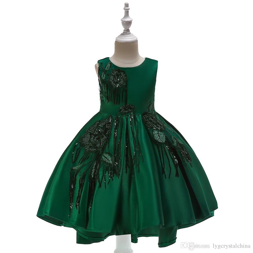 New dress for children Girls satin fabric sequins tassel Cocktail dress Small tail Flower princess dress high quality flower girls dresses