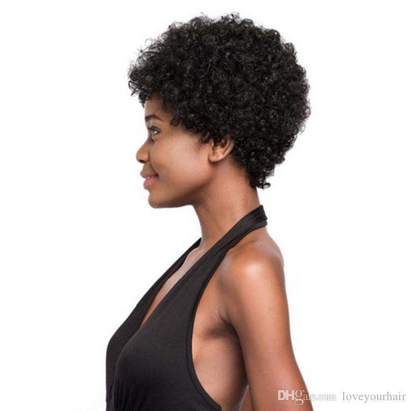 hot selling brazilian Hair African Ameri short kinky curly wig Simulation Human Hair curly wig for women