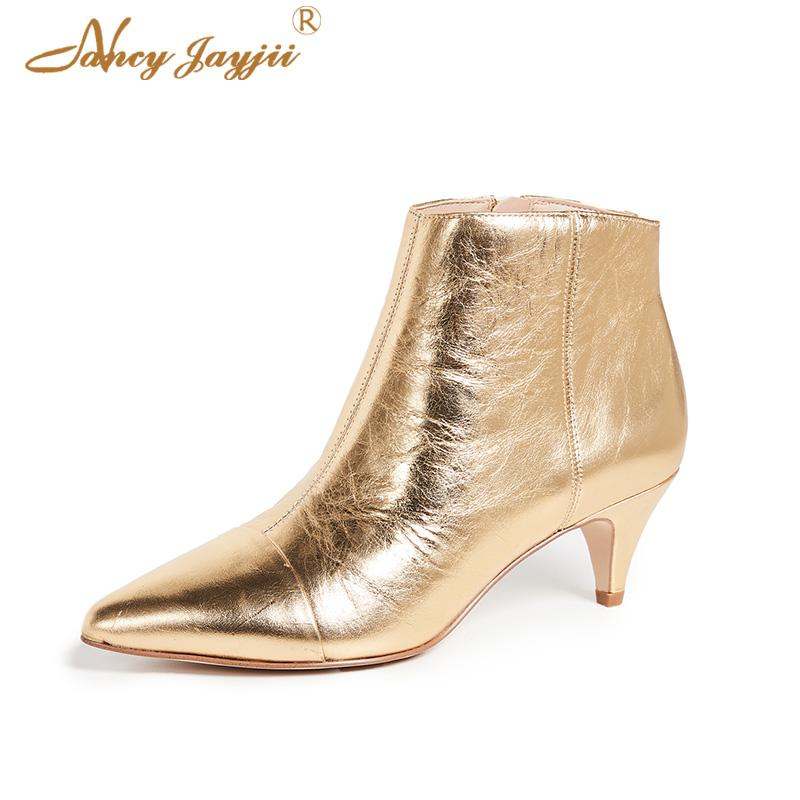 online shop cute low priced Gold Ankle Boots Zipper Side Women Shoe Pointed Toe Thin Spike Heel Dress  Bootie Autumn 2018 Female Large Size 38 39 New Fashion Shoe Boots Over Knee  ...