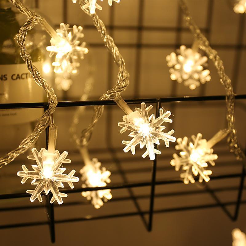 Romantique Ins décoration Lumières de Noël Blanc Chaud coloré flocon de neige étanche LED chaîne lumière de Noël flash LED d'éclairage 3M 6M 100M