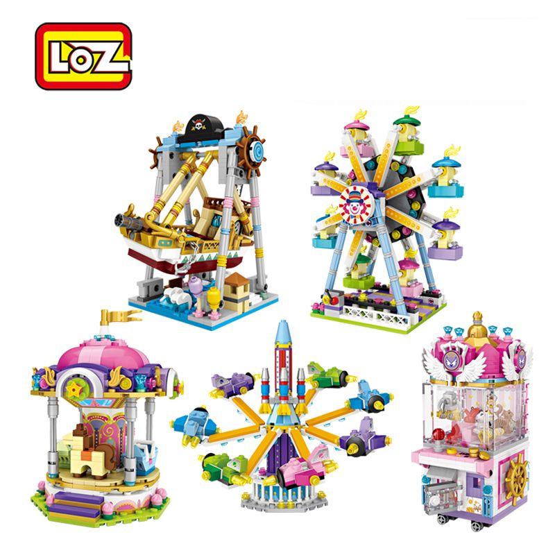 LOZ 미니 블록 놀이 공원 시리즈 놀이터 관람차 빌딩 블록 벽돌 어린이 소년 소녀 DIY 1717에서 1721 사이를위한 교육 장난감