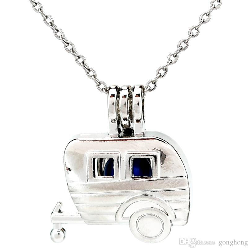 Silver Cute Carriage Car Body Essential Oil Diffuser Locket Women Aromatherapy Beads Pearl Cage Necklace Pendant-Boutique gift