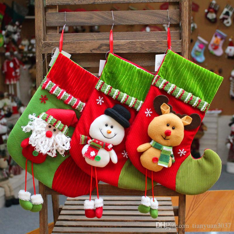 2018 New YearChristmas meias saco de presente árvore pendurar decoração meias criativo presente de natal saco de presente de natal TY2305