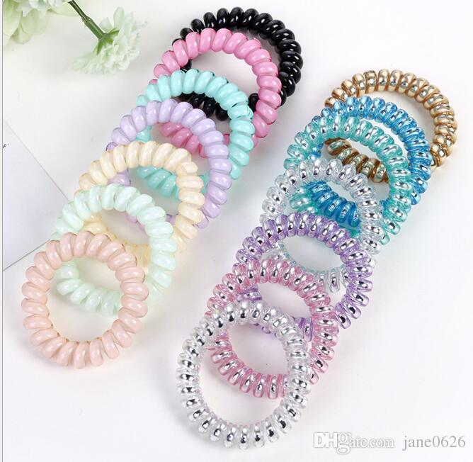 Metal Color Telephone Wire Cord Headbands for Women Elastic Hair Bands Rubber Ropes Hair Ring Girls Hair Accessories Wholesale
