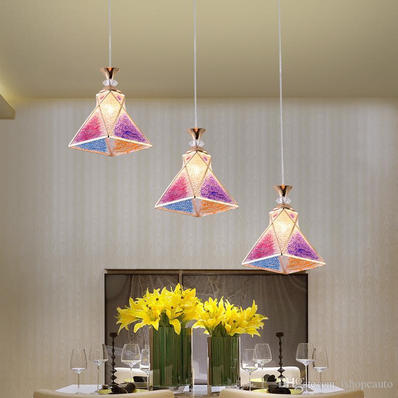 Nordic Современные светодиодные лампы Подвеска Гостиная Ресторан Single Head 3 Возглавляет Красочные стекла Macaron Dining Room светильники люстры