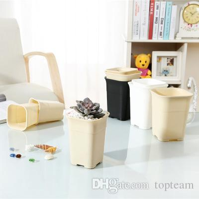 3 Colors Square nursery plastic flower pot for indoor home desk bedside or floor, and outdoor yard,lawn or garden planting