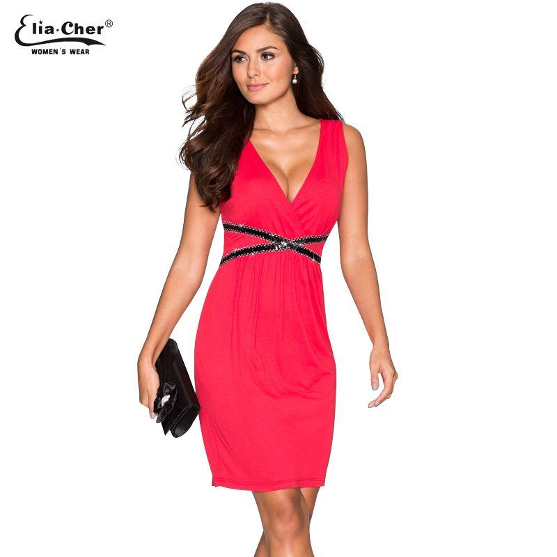 Compre Vestidos Casuales Rojos Eliacher Marca Mujer Tallas Grandes Ajuste Y Llamarada Vestido De Verano Use Para Trabajar Con Cuello En V Vestido De
