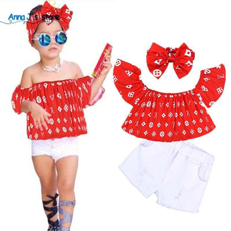 3pcs de vêtements d'été pour bébés enfants filles conviennent à une épaule de mot Tops et vêtements blancs bow hairband ensembles de vêtements pour enfants TZ562