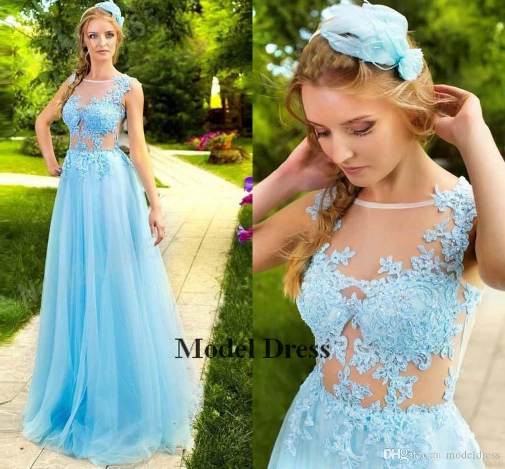 Long Light Blue Prom Dresses Lace Appliques A Line Sheer Neck Floor Length See Through Sexy Formal Girls Pageant Gowns abiti eleganti