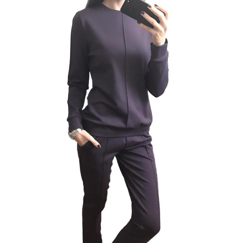 Neue Mode Frauen Herbst Trainingsanzug Frauen Hoodies 2-Piece Set T-Shirts + Lange Hosen Freizeit Anzüge Weibliche Großhandel