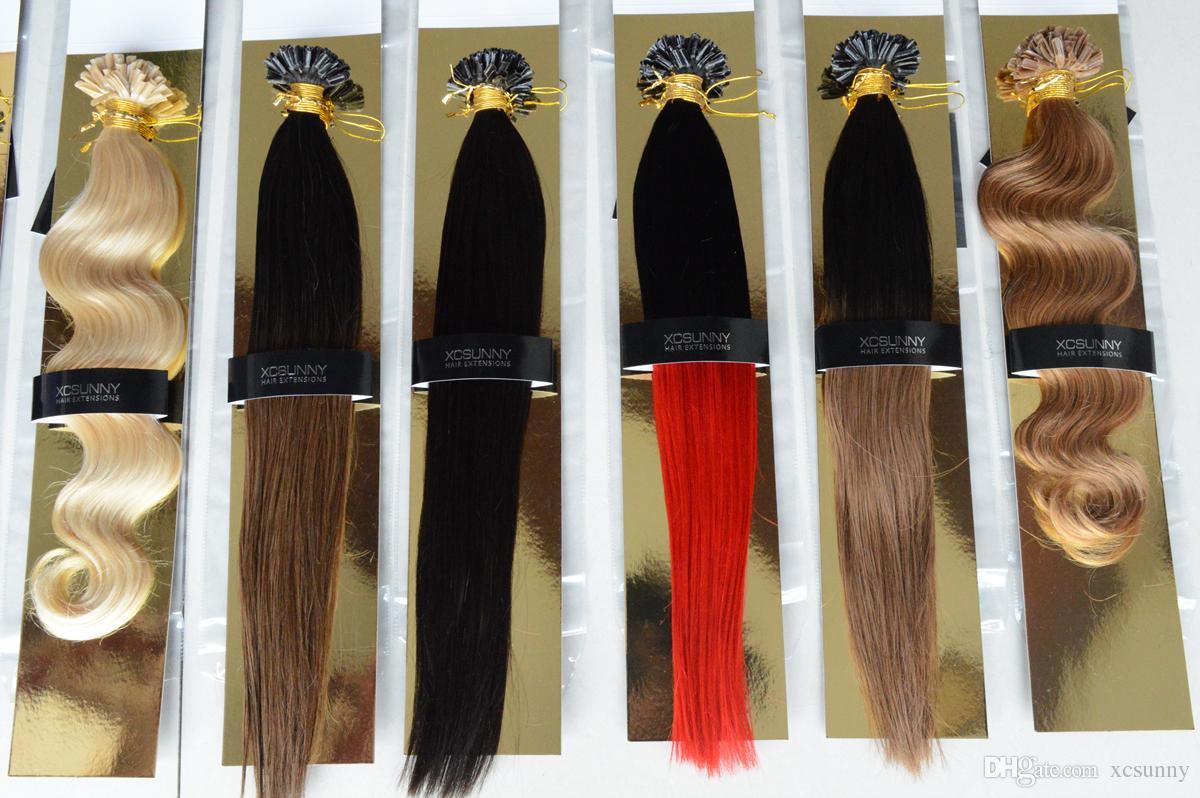 "XCSUNNY Ombre Uñas Extensiones de cabello Recto Brasileño Virgin Human 18 ""20"" Ombre Keratina de pelo 100 g Extensiones de cabello de fusión Ombre"