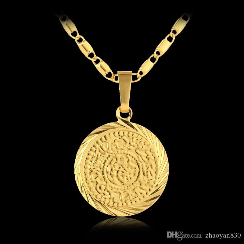 5PCS Wholesale Islam Muslim Ancient Coins pendant Necklaces Gold Color Arab Money Sign Chain Middle Eastern Coin Items jewelry Gift