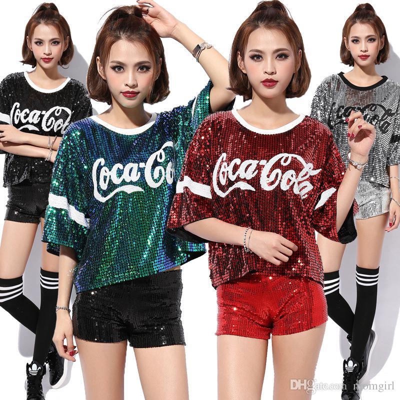9edfaceb2afdd7 Female Glitter T Shirt Women Sequin Tops Letter print Harajuku Tees Summer  Hip Hop Dancing cloth